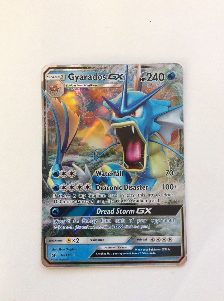 Gyarados GX 18//111 Ultra-Rare Rare Crimson Invasion Mint Pokemon Card