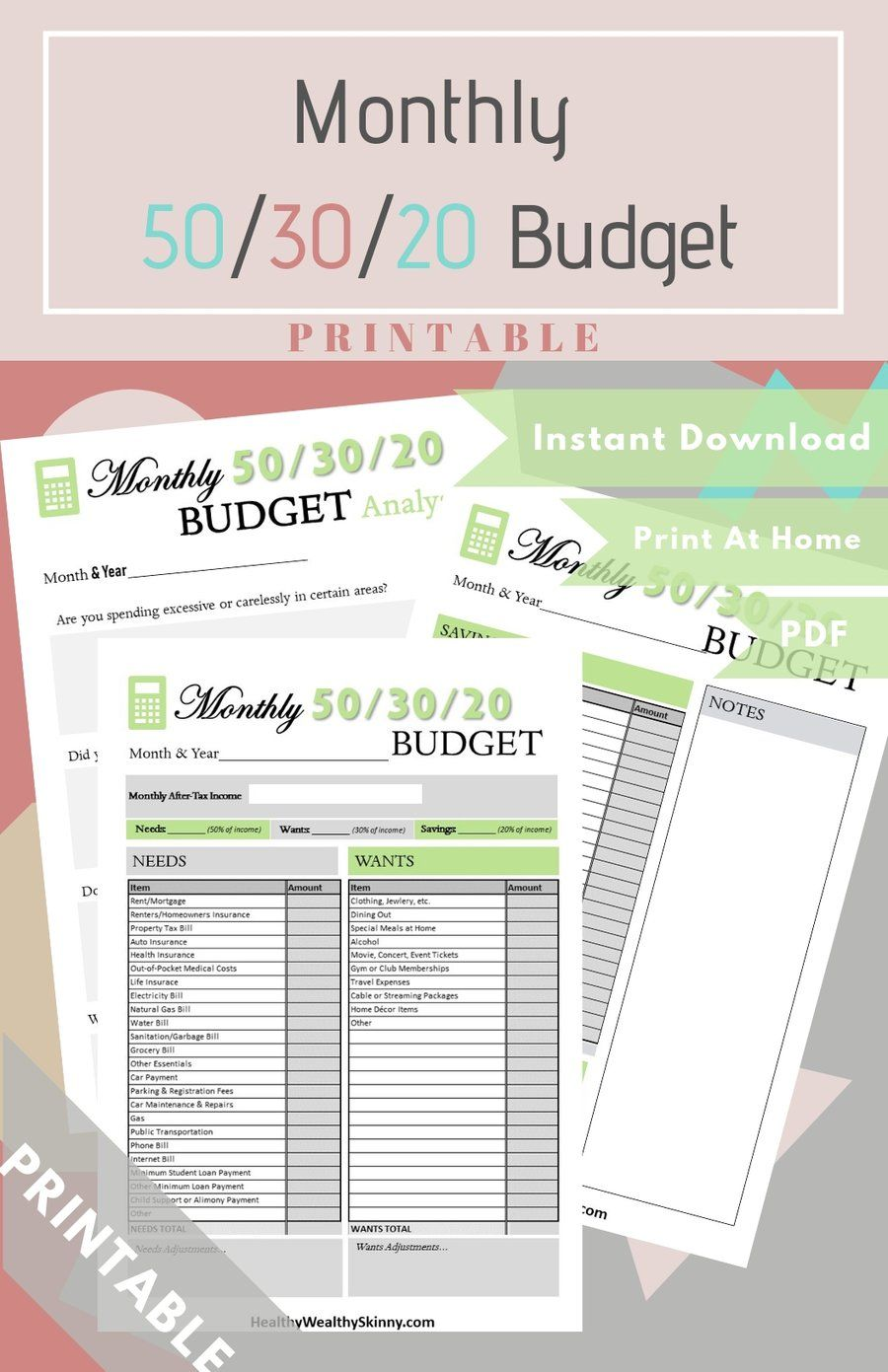 Monthly 50/30/20 Budget Worksheet PDF (Available In Various Colors