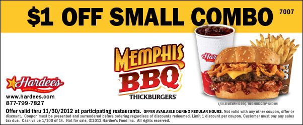 picture relating to Hardee's Printable Coupons called Printable Hardees Coupon ($1 off very little combo) Solutions I