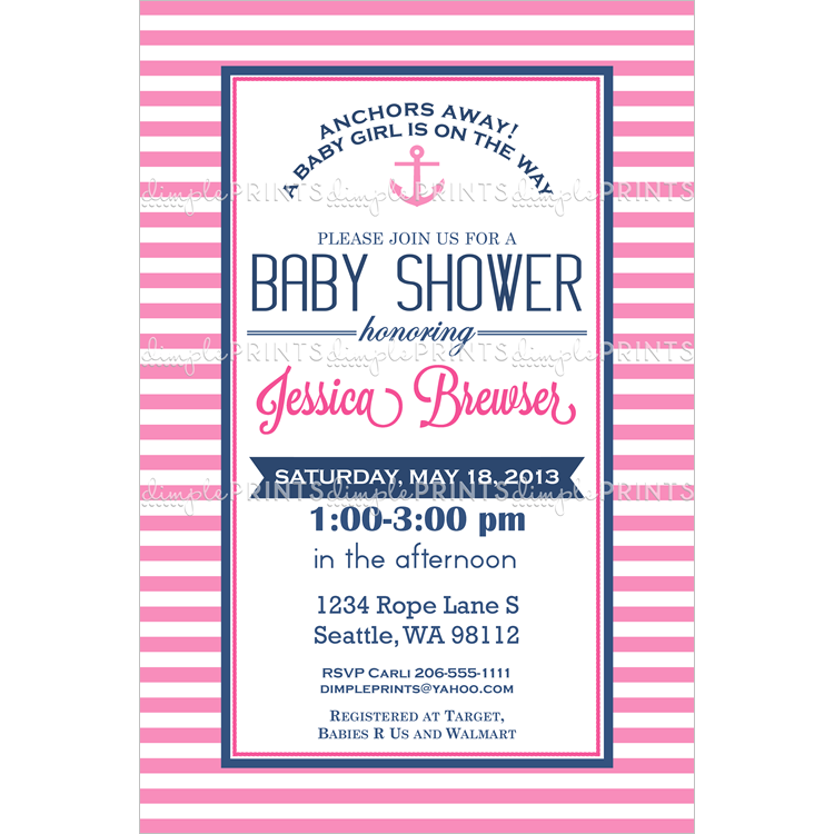 Nautical Baby Shower Invitation Girl Printable | Shower invitations ...