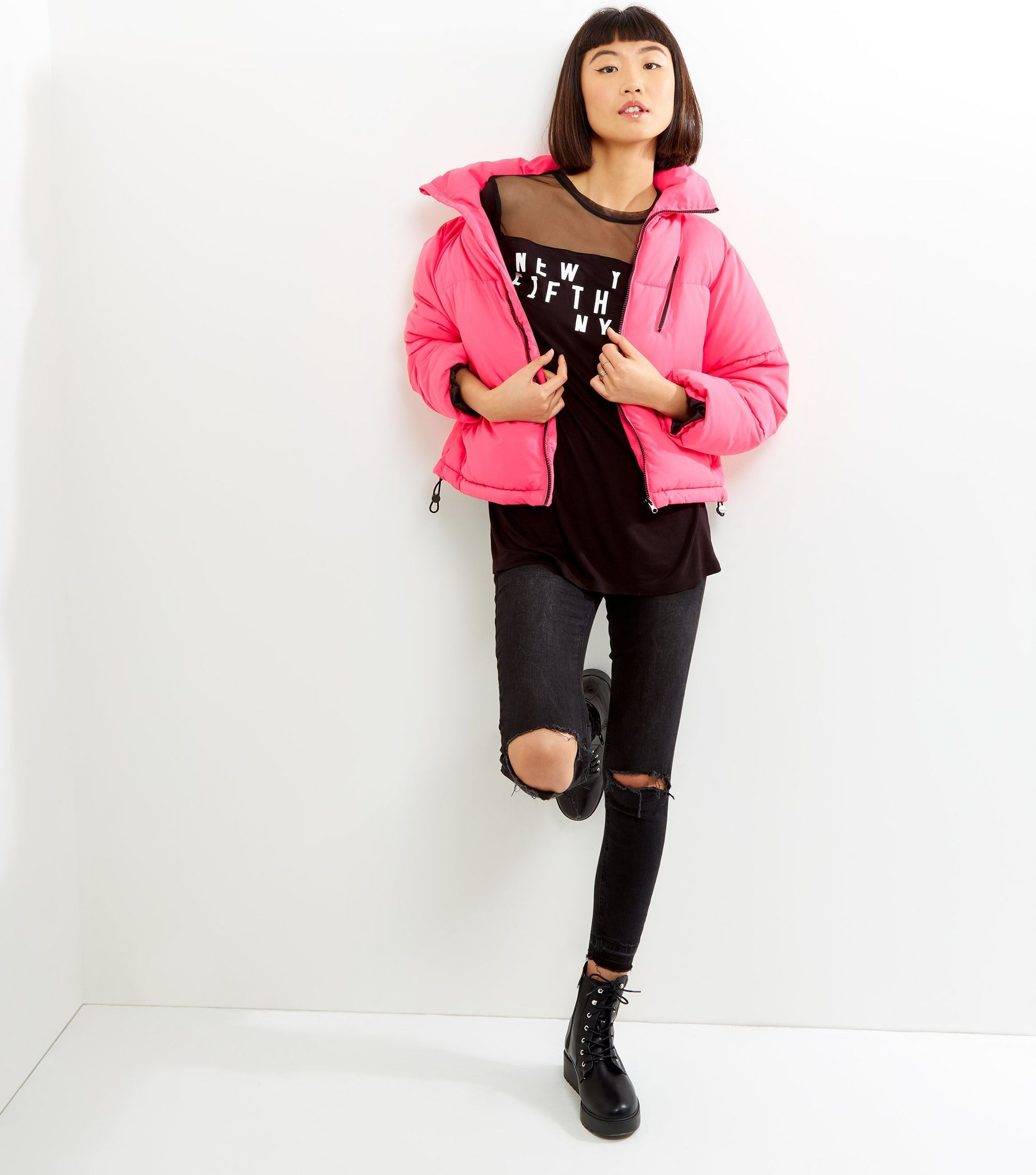 Bright Pink Puffer Jacket New Look Pink Puffer Jacket Jackets Puffer Jackets [ 2268 x 2000 Pixel ]