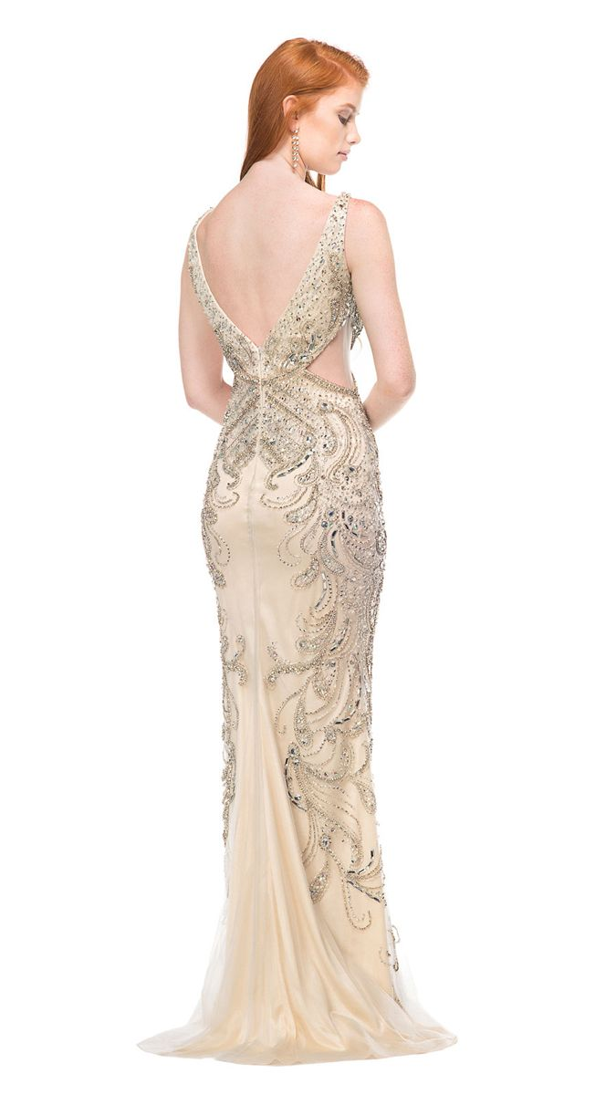 The Colors Couture J018 prom dress features a fitted silhouette with ornate crystal beadwork, detailed with a wide V-neck, V-back and diamond side cutouts. The paisley-inspired beading stretches from the bodice to the hips, and along the sides of the full-length skirt. Draped in tulle over a solid lining, this glitzy evening dress glides over the floor with a sweep train.
