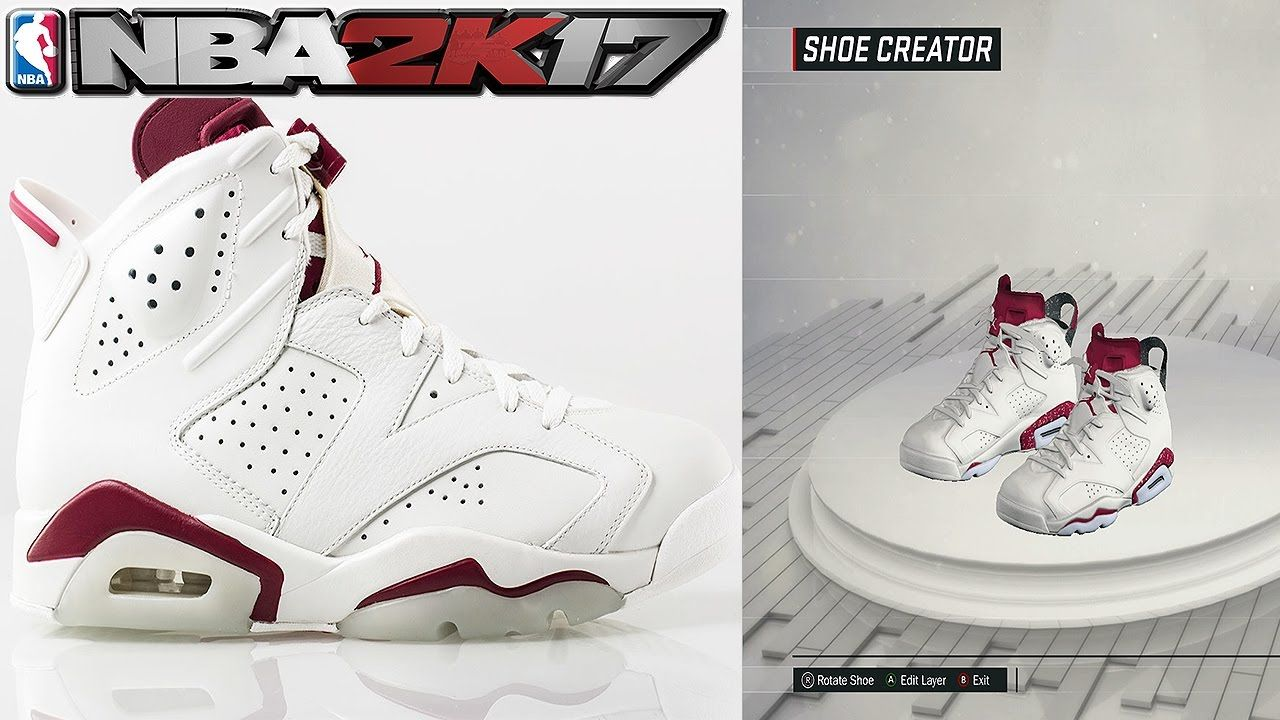 NBA 2K17 Shoe Creator Air Jordan 6 Maroon