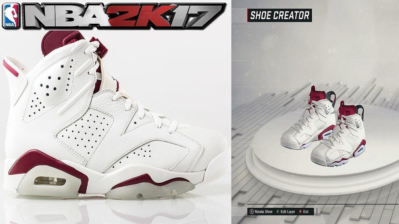 68871fbd8c0ea9 NBA 2K17 Shoe Creator Air Jordan 6 Maroon