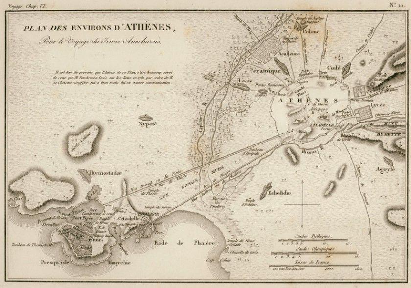 Xarths Ths Arxaias A8hnas Kai Toy Peiraia 1832 Barthelemy Jean