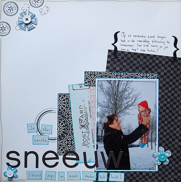 """'Snow', 12"""" x 12"""" scrap lay-out"""
