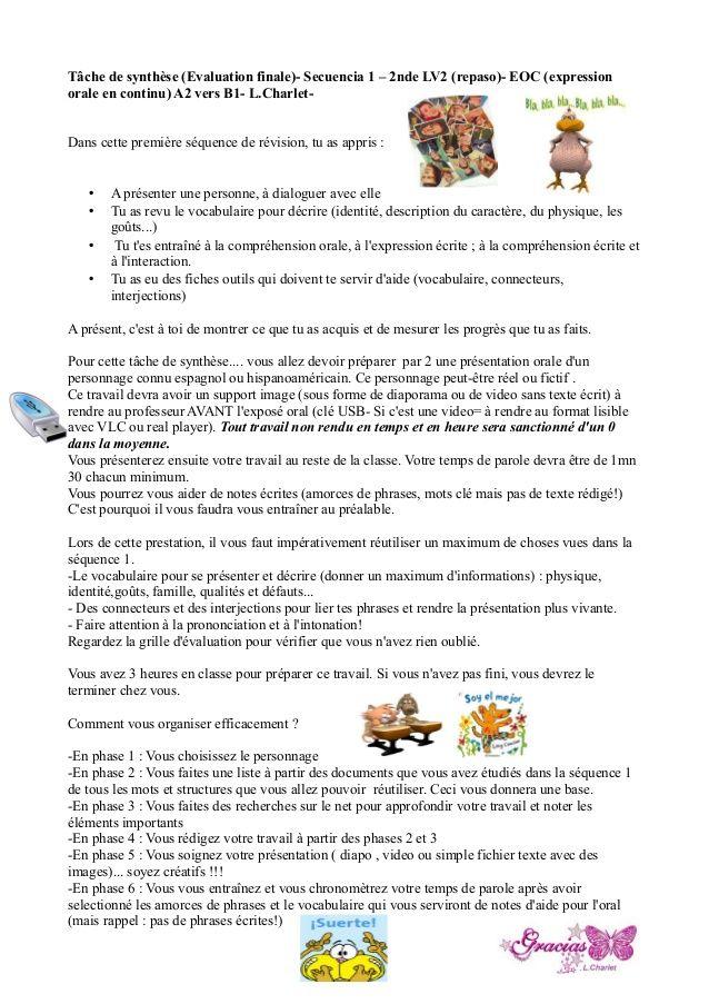 Compréhension De L Oral A2 Tache De Synthese Evaluation Finale Secuencia 1 2nde Lv2