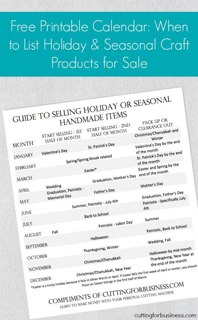 Free Printable Calendar When to List Your Holiday Craft Products
