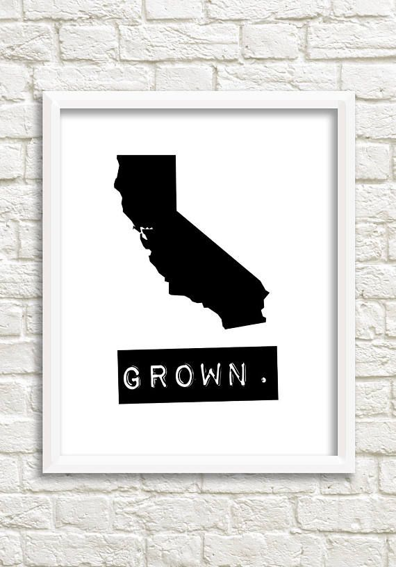 A digital download of a black and white print of your home state of california to show off that you are california grown and proud of it