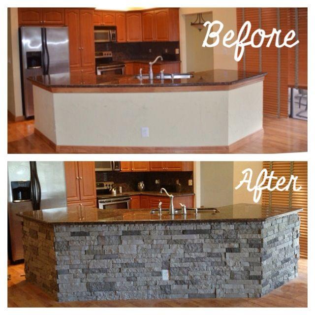 Kitchen Reno #airstone #lowes #kitchenisland | Kitchen ...