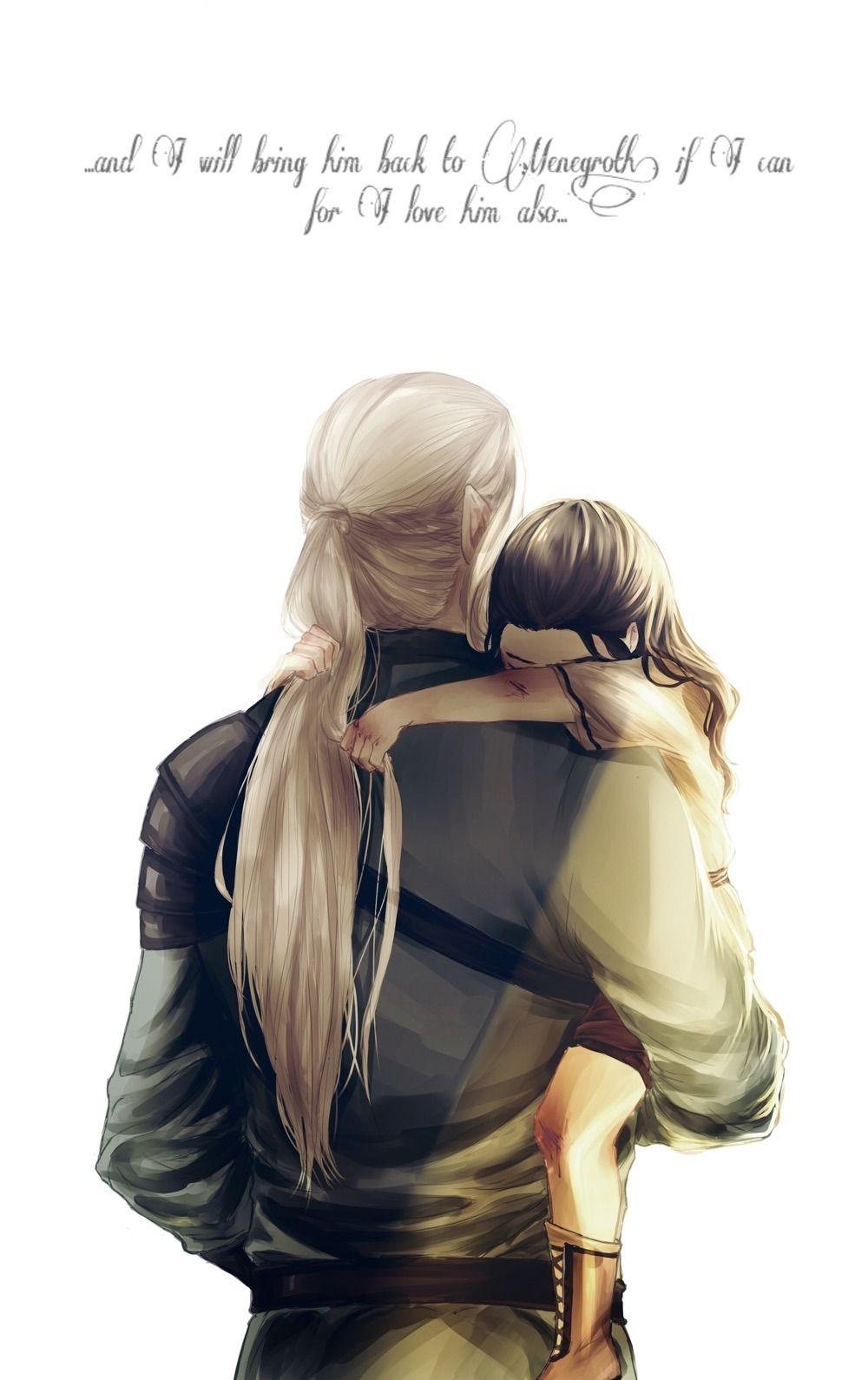 Beleg the elf of Doriath taking care of Túrin the human ...