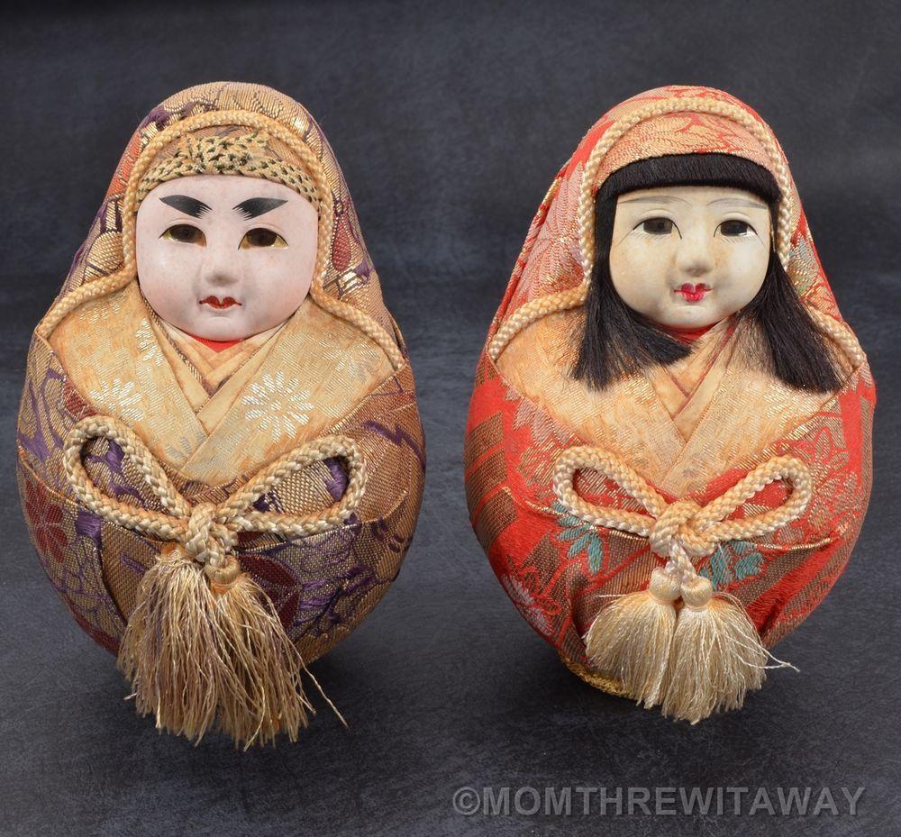 OLD Pair JAPANESE GOFUN Wedding DOLLS Hime Daruma ROLY POLY