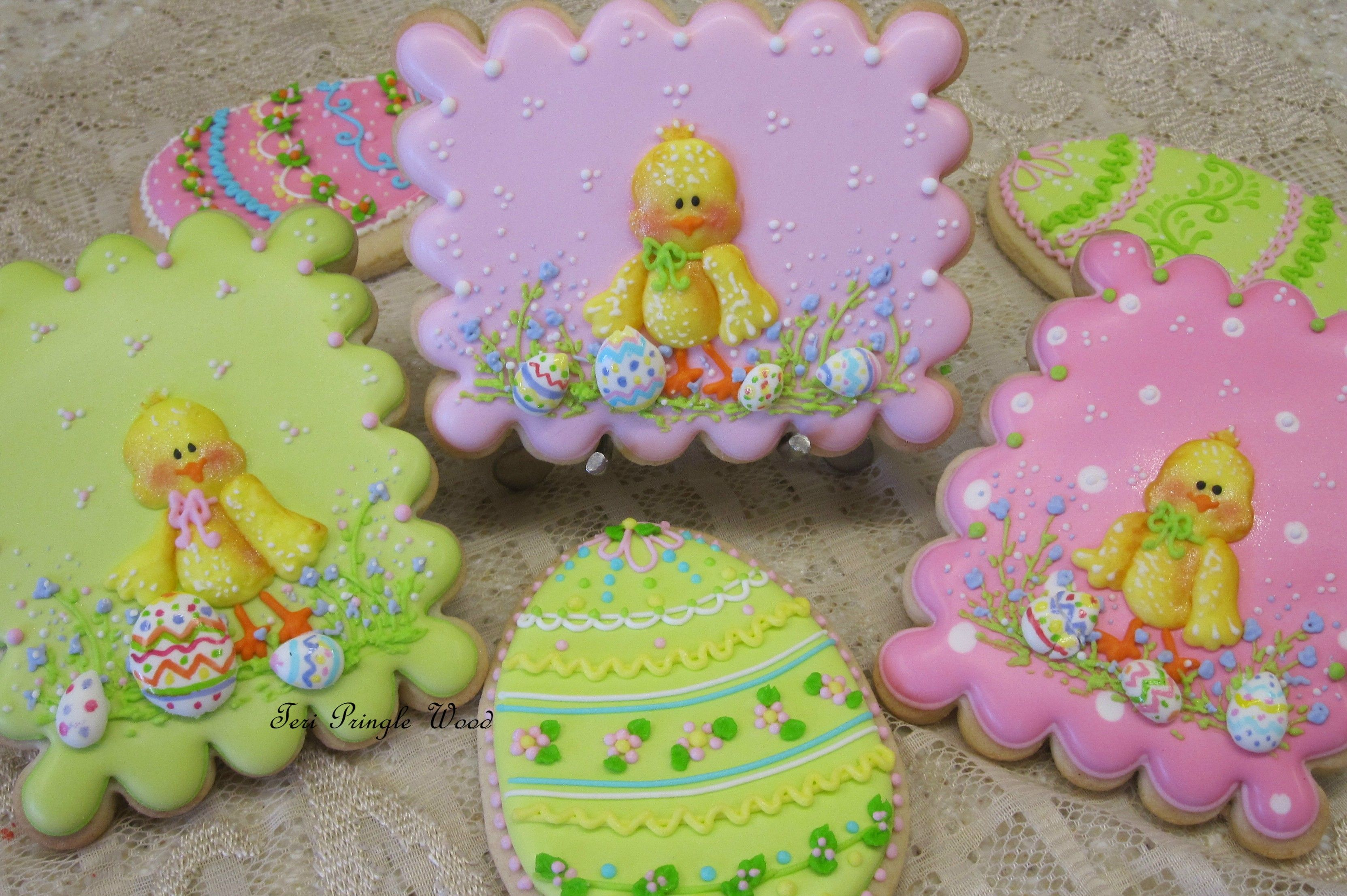 Easter decorated cookies chicks and eggs