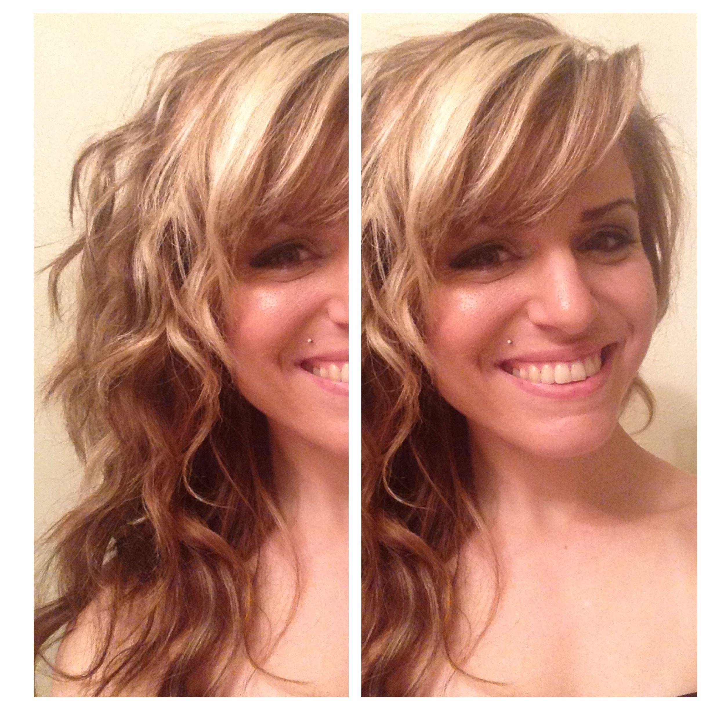 Hair Waves Blonde Highlights Lowlights Contrast Side Fringe Bangs