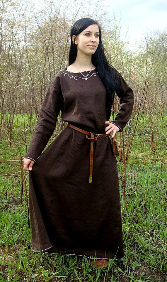 Viking Dress Early Medieval Linen Underdress Gown Tablet Selvage Dress For The Summer 100 Linen Viking Costume Reconstruction In 2020 Viking Dress Viking Costume Medieval Dress