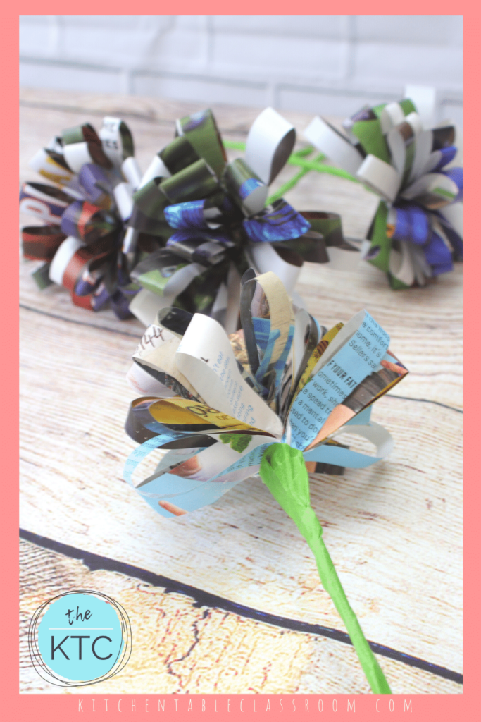 Make a Paper Flower Bouquet from Magazine Pages - The Kitchen Table Classroom
