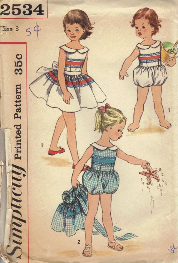 Simplicity 50s Sewing Pattern Girls Playsuit Detachable Apron Skirt ...