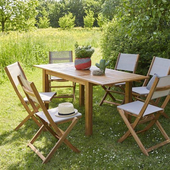 Salon de jardin en bois d\'acacia FSC gris rallonge 6/8 ...