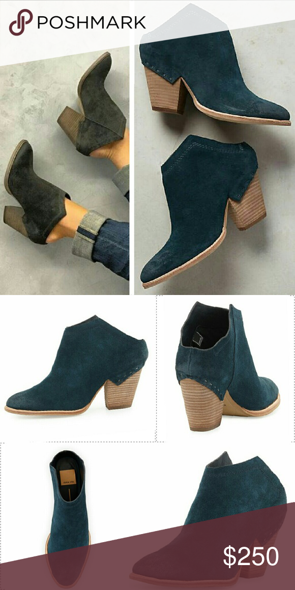 "Dolce vita haku mule booties teal anthropologie 8 Sold out blogger favorite. Authentic haku bootie mules in a blue green teal suede by dolce vita. Asymmetrical suede leather upper. Synthetic insole, sole 3"" wood wrapped heel 4""H. Fits true to size. Worn once for about an hour. Very comfortable! I do not trade so please don't ask! Dolce Vita Shoes Ankle Boots & Booties"