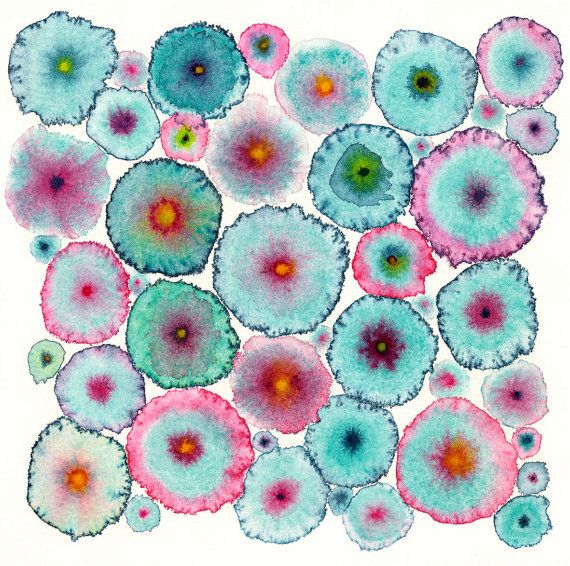 Turquoise Pink Circles Abstract Large Canvas by IlseBernthalArtist, £125.00