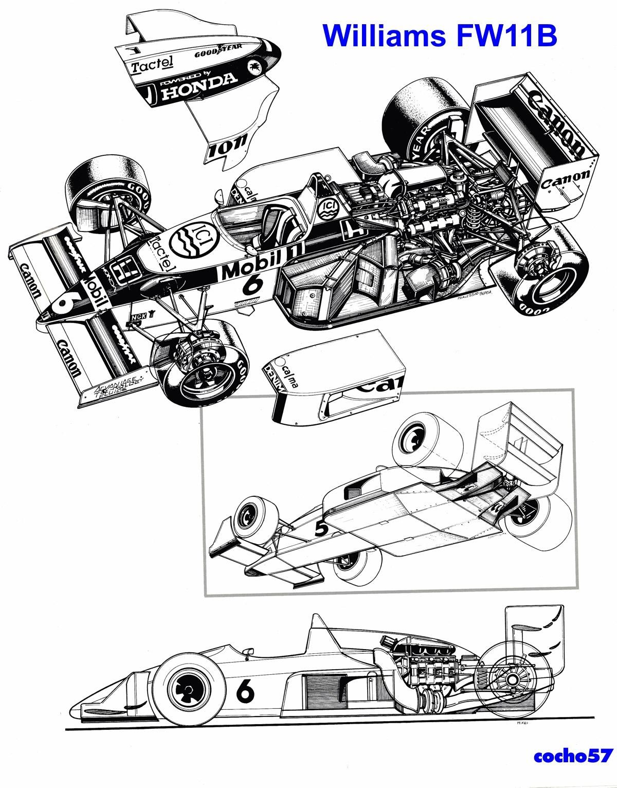 Williams Fw 11b Honda Disenopatrick Head Sergio Rinland