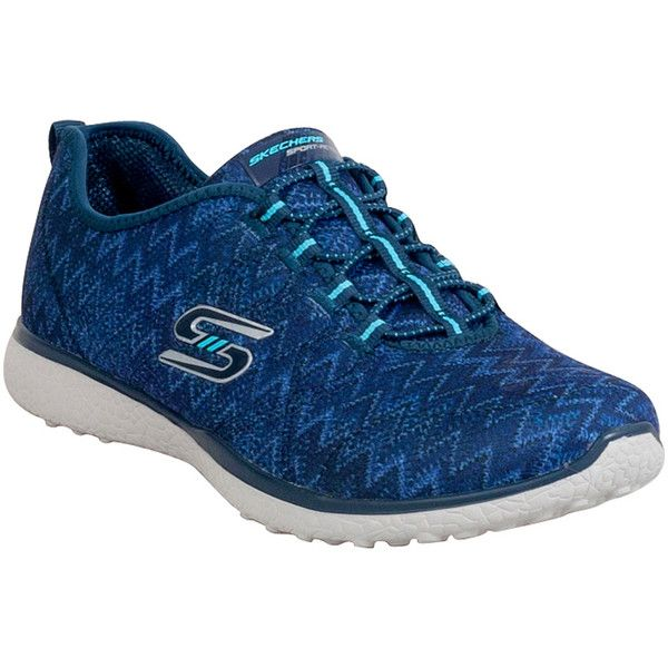 Skechers Women's Microburst Fluctuate Athletic Slip-On ($65) ❤ liked on Polyvore featuring shoes, navy, lightweight shoes, light weight shoes, navy shoes, skechers shoes and woven shoes