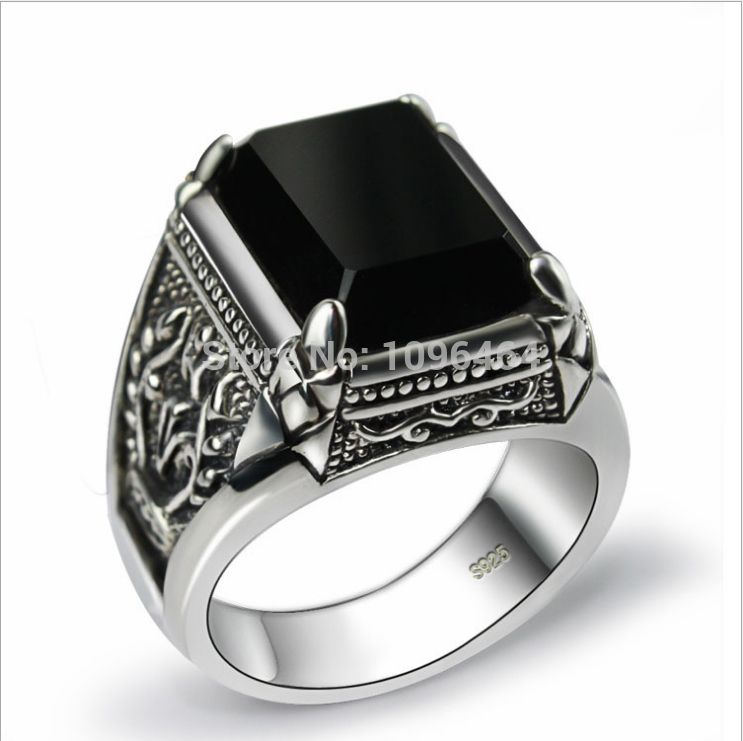 925 Sterling Thai Silver Ring Man Retro Jewelry Obsidian Ring 1.8 ...