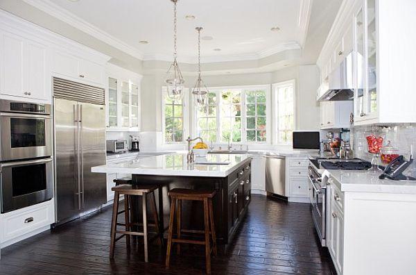 Small Modern Kitchen With Dark Hardwood Floors White Kitchen Remodeling White Kitchen Design White Kitchen Dark Floors