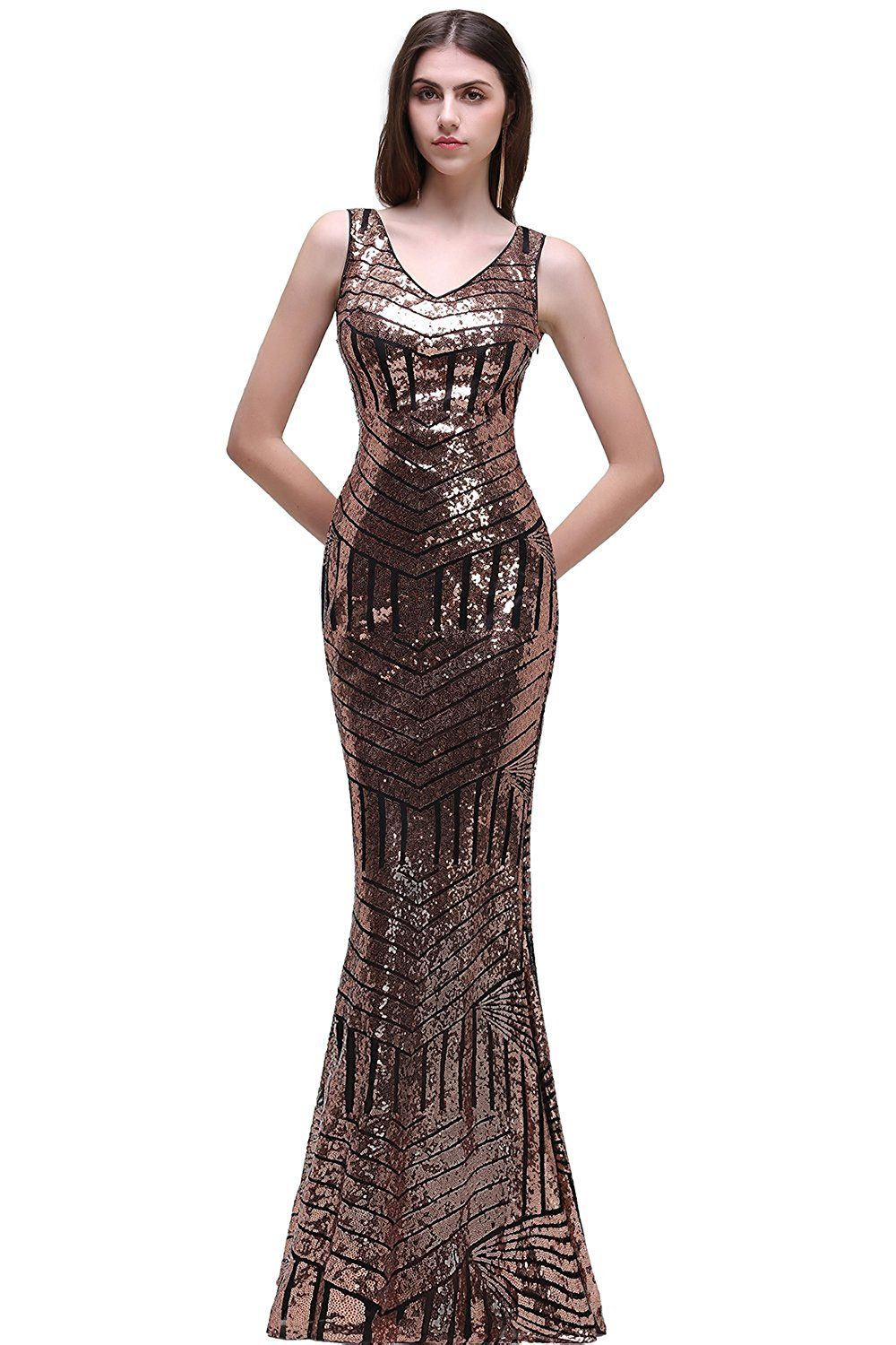 Amazon women geometric sequins sleeveless bodycon mermaid dress