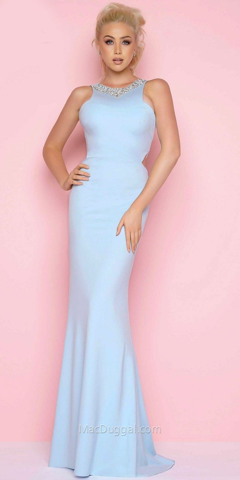 Plunging Open Back Side Cut Out Prom Dress by Mac Duggal | Half ...