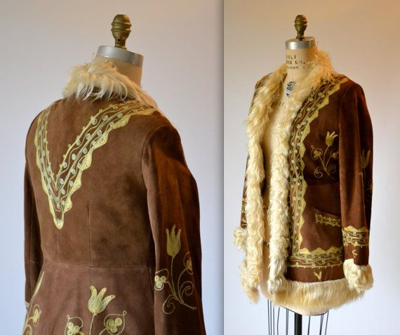 Vintage Embroidered Shearling Jacket Size Small// 70s Shearling ...
