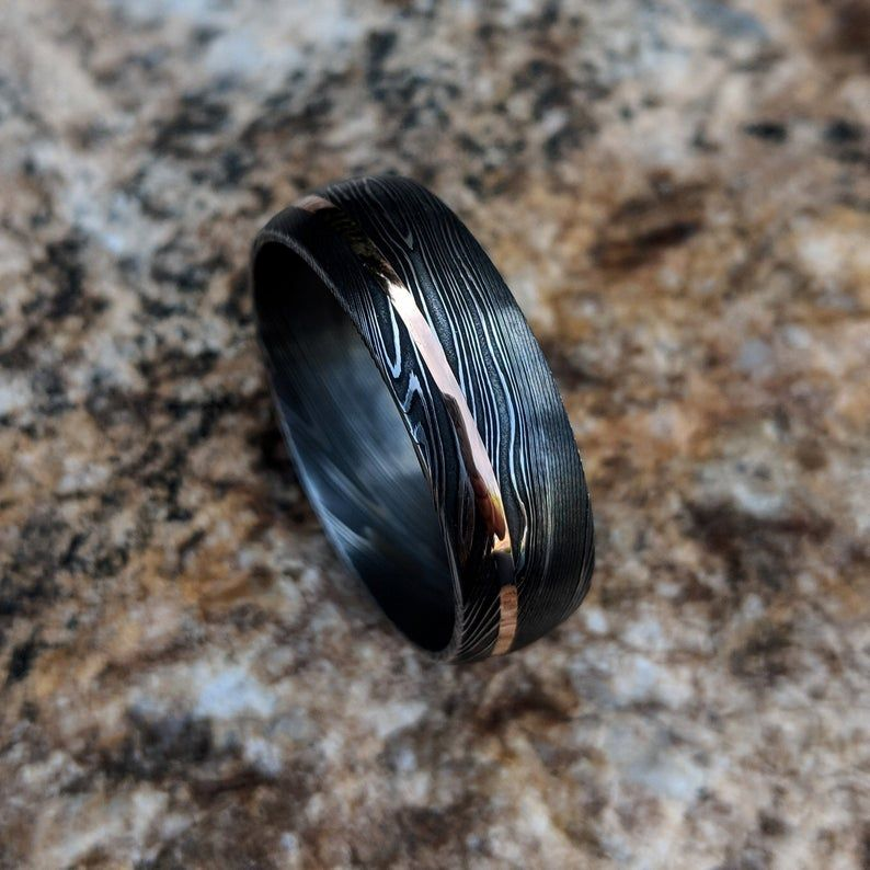 Damascus Ring 14k Rose Gold Inlay Damascus Steel Wedding Band