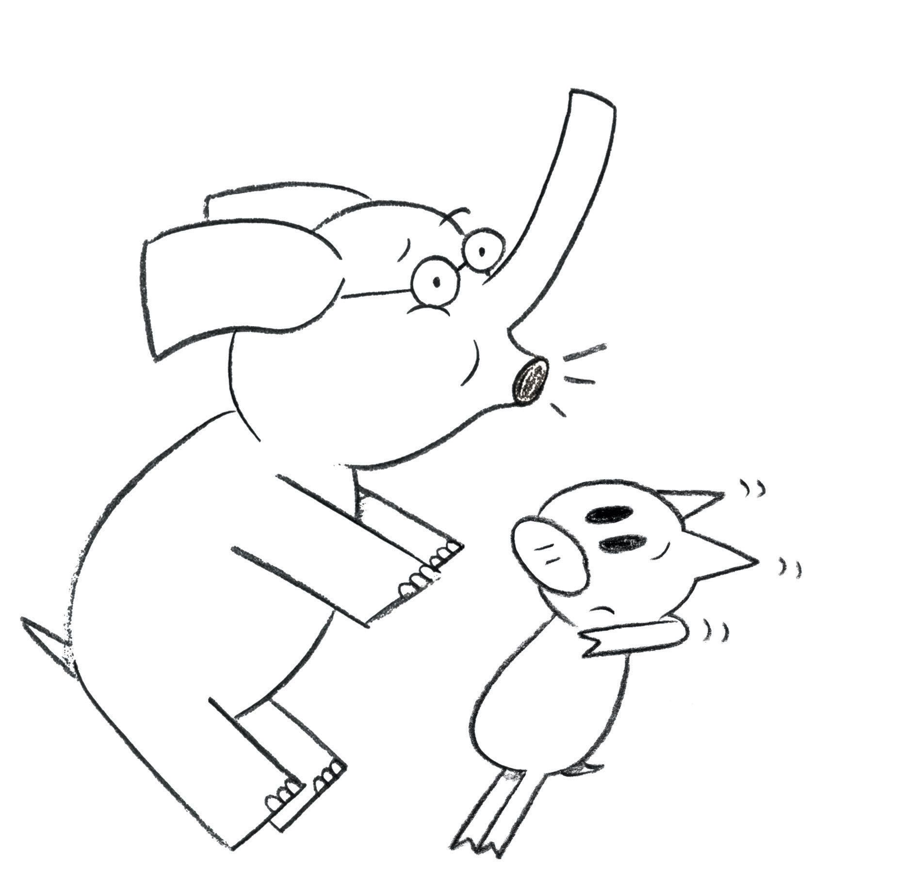 Elephant And Piggie Coloring Page Mo Willems Coloring Pages