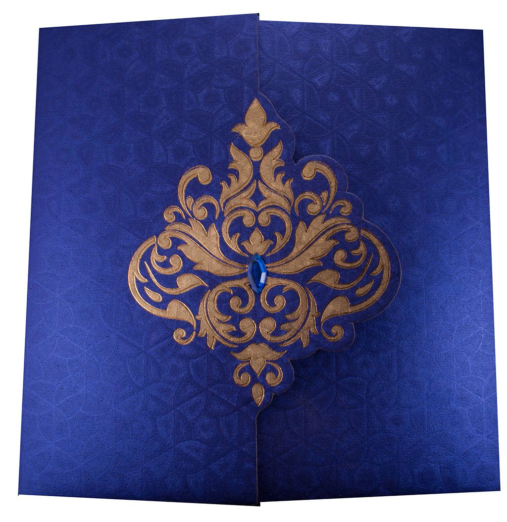 Elegant Wedding Invite In Royal Blue With Golden Patterns