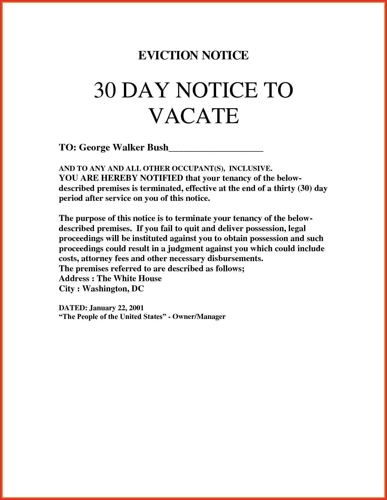 9 30 Day Eviction Notice Template Technician Resume In 2019