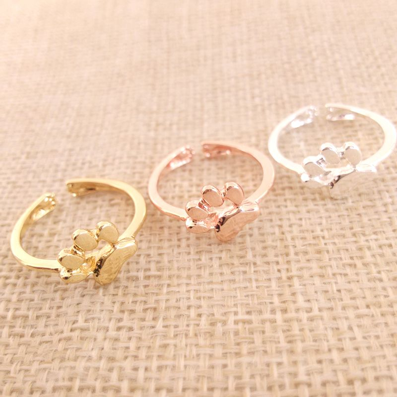 Wholesale 30 pcs/Lot New Dog cat paw print Ring Adjustable Size Suit for All Cute Women Festival Gift #Affiliate