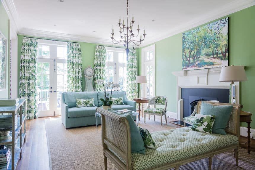 40 Green Living Room Ideas (Photos) | Light green walls ...