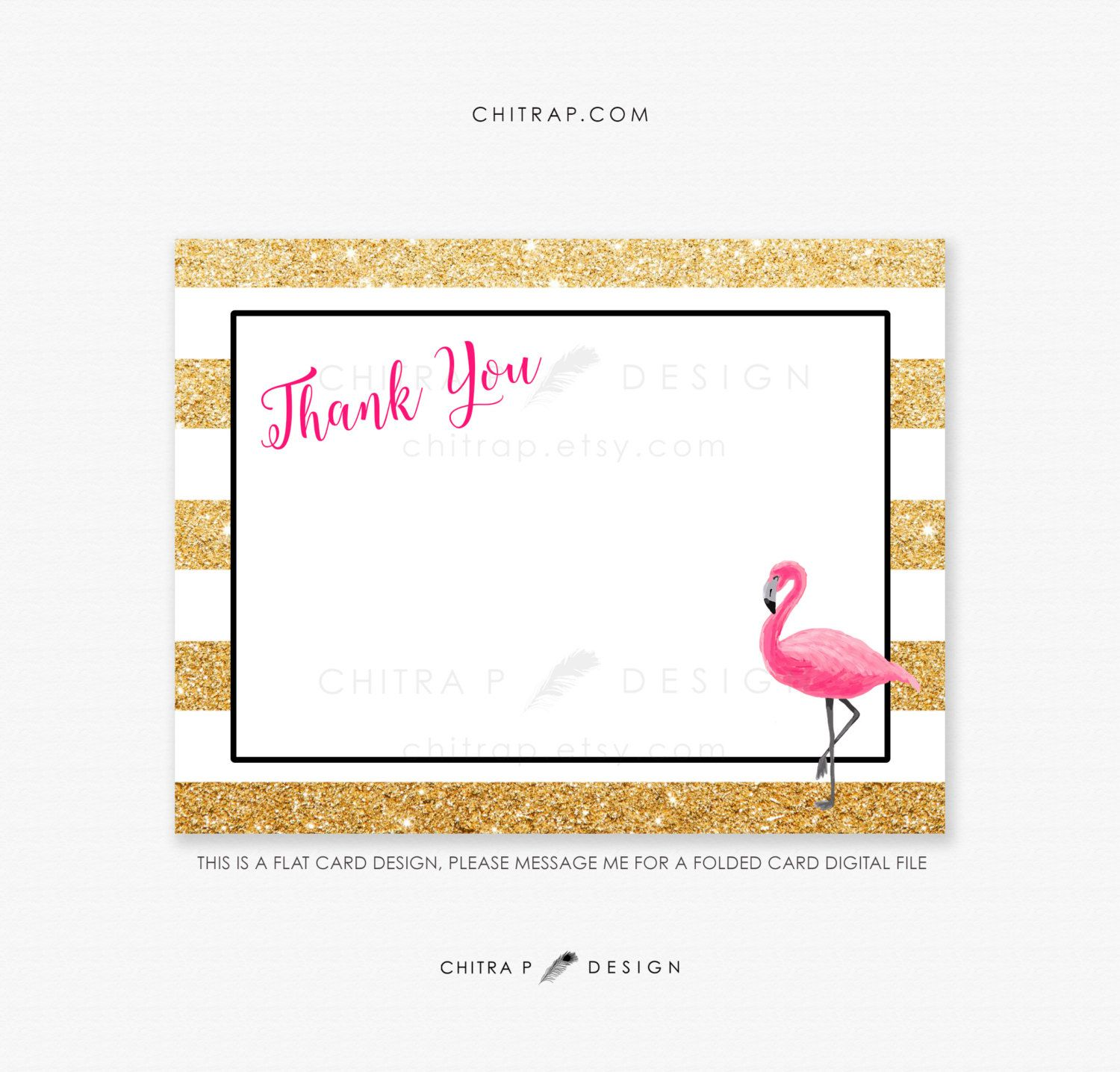Flamingo Thank You Cards  Printed Or Printable, Watercolor Striped