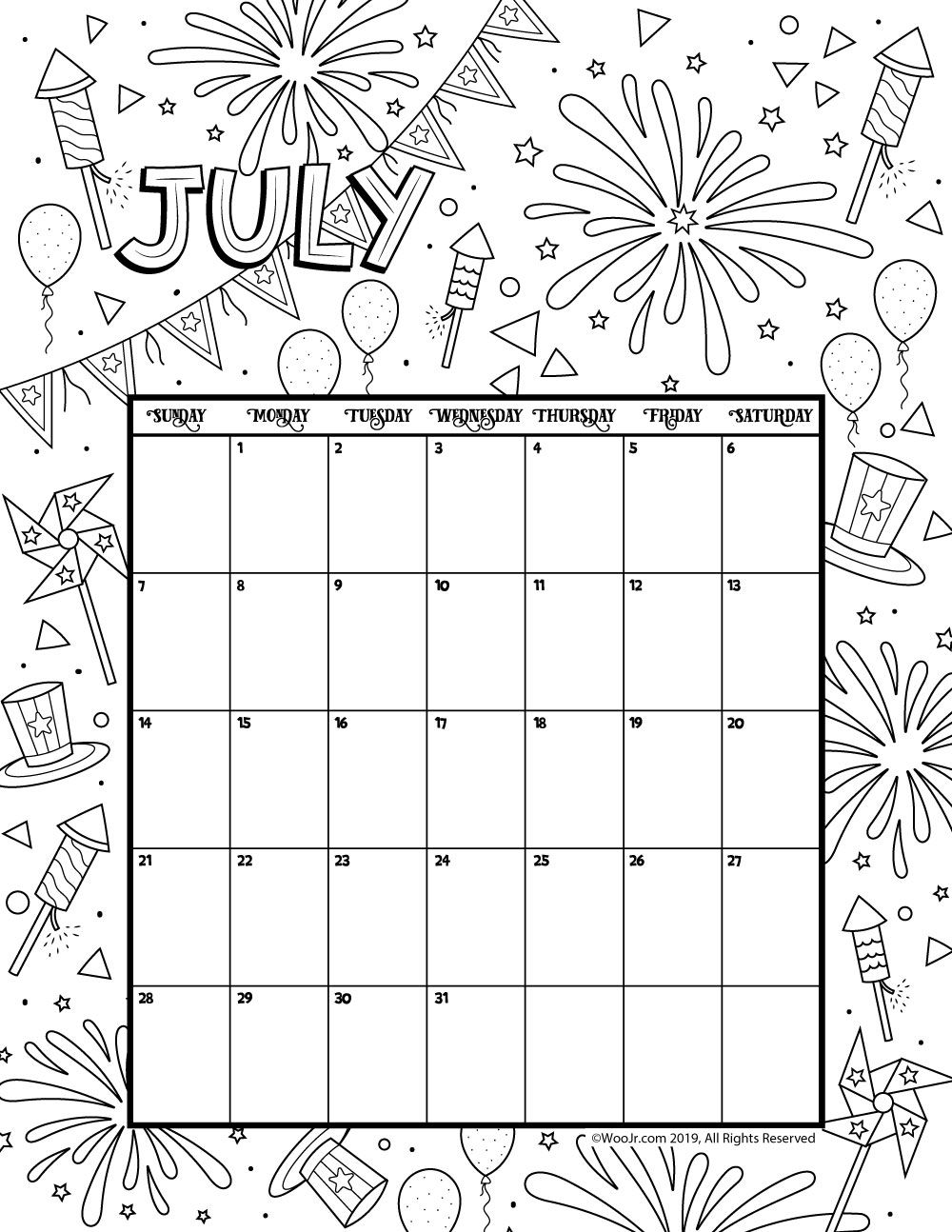 July 2019 Coloring Calendar Daycare Funcare July Calendar