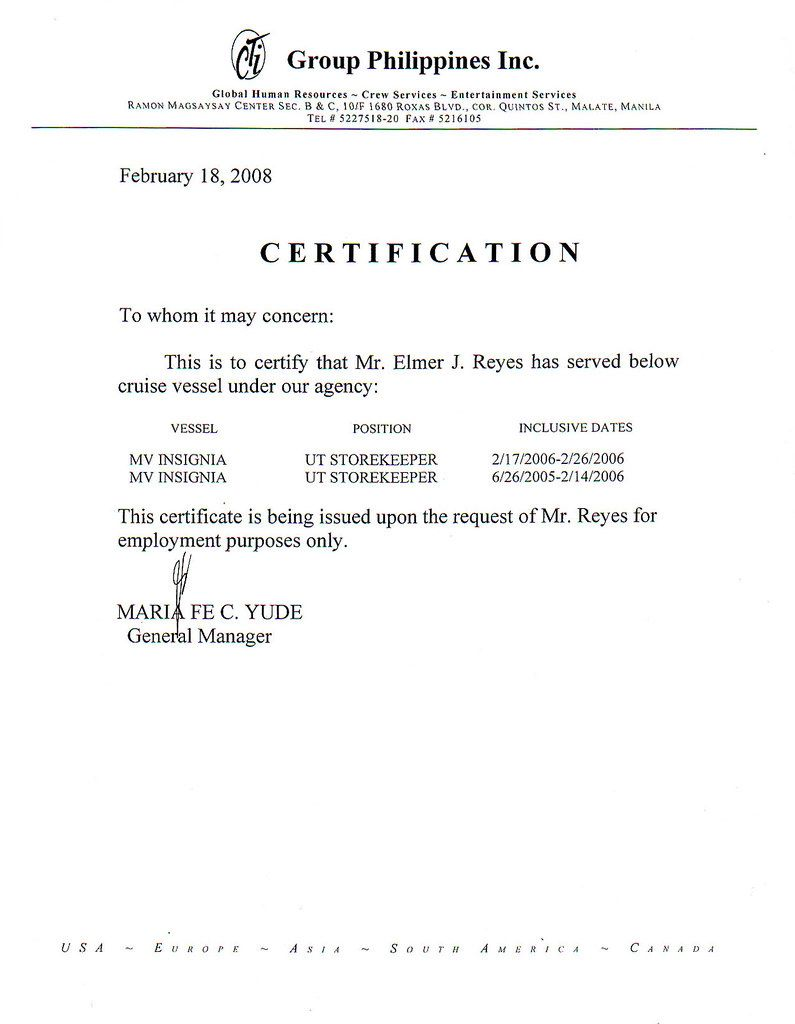 My Certificate Of Employment And Other Scanned Documents Pertaining To Certificate Of Employment Te Business Template Certificate Templates Application Letters