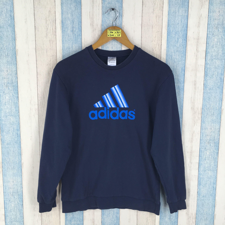 Vintage Adidas Equipment Sweatshirt Large Women 90 S Adidas Sportswear Three Stripes Crewneck Jumper Adidas Blue P Sweatshirts Vintage Adidas Adidas Sportswear