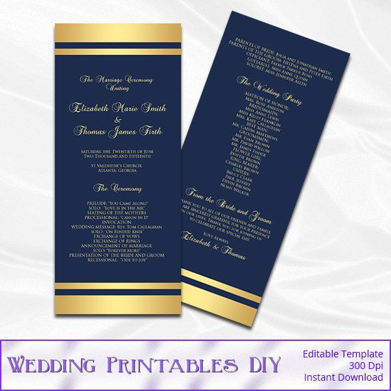 Navy And Gold Wedding Program Template By WeddingPrintablesDiy