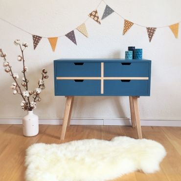 sidonie la commode scandinave ch ne et bleu paon par chouette fabrique chouette fabrique la. Black Bedroom Furniture Sets. Home Design Ideas