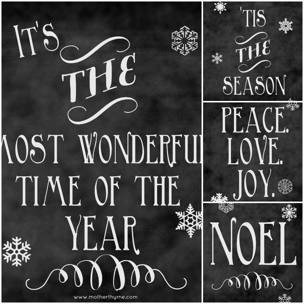 Christmas Chalkboard Printables Roundup With Images