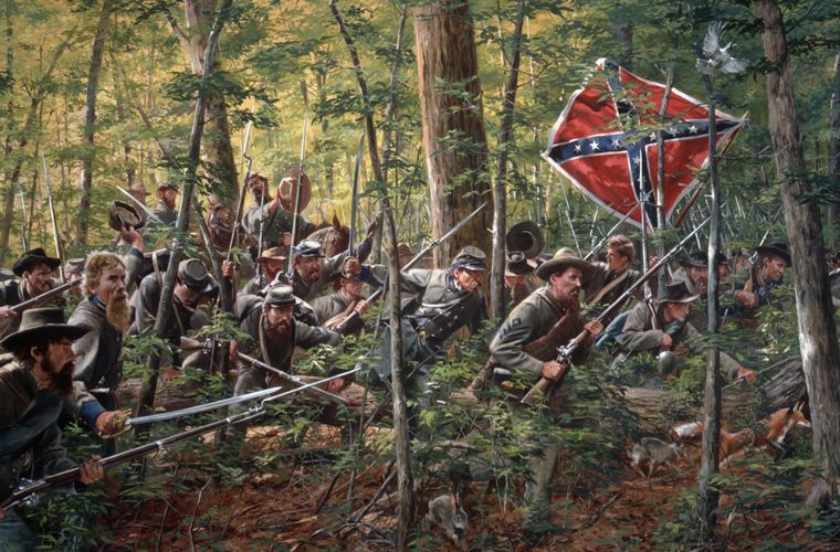 This painting by Don Troiani shows the Confederate ...