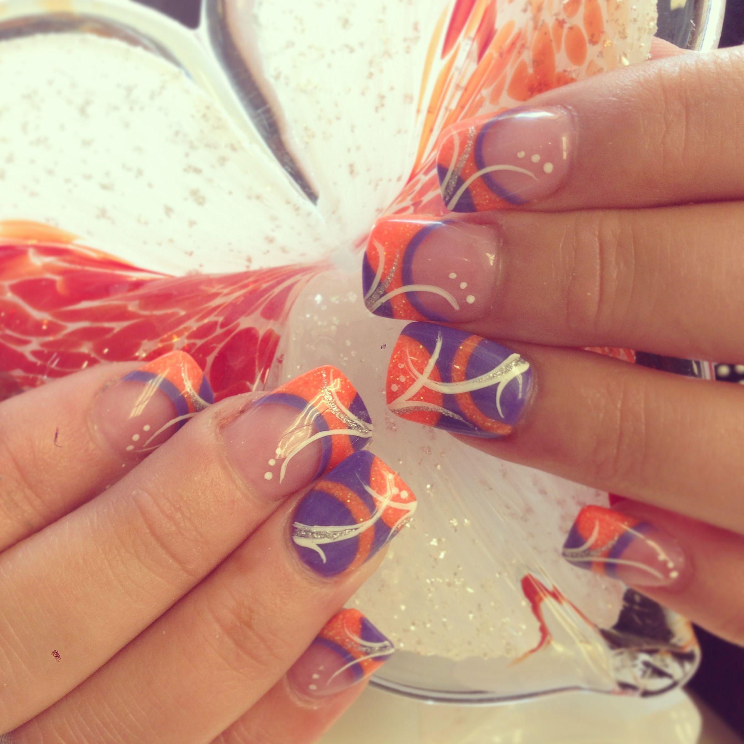 Happy Summer Nails Orange And Purple Nail Design Acrylics Geometric Circular French Purple Nail Designs Purple Nails French Nails
