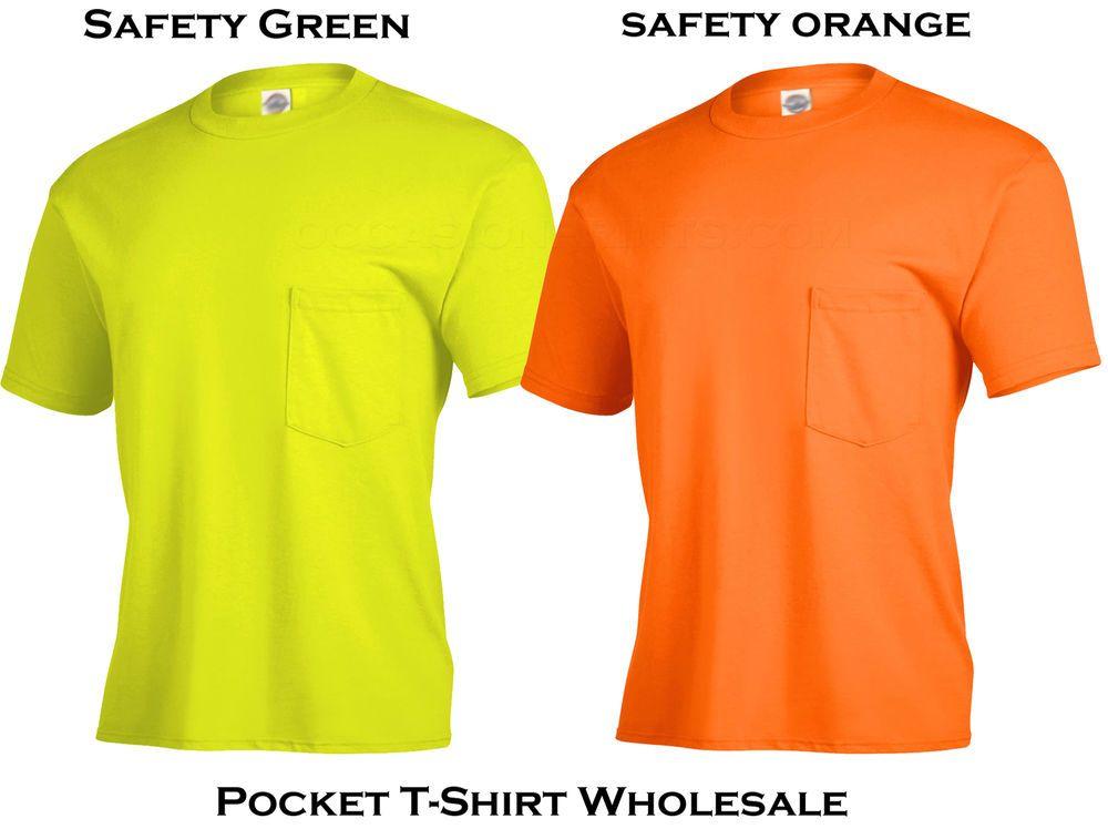 12 lot pocket tshirt magnum 60 oz safety greenorange