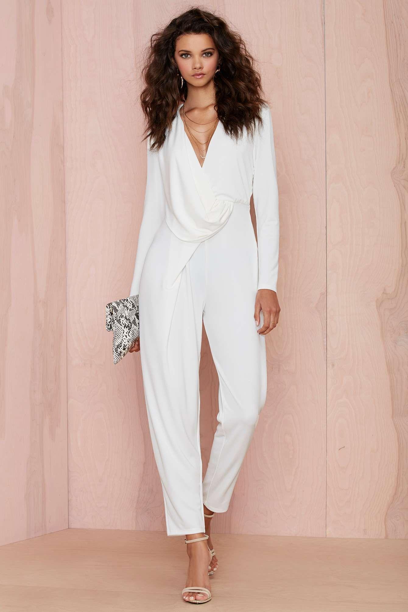 White drape jumpsuit | My style | Pinterest | Enteros, Mono y Enterizo