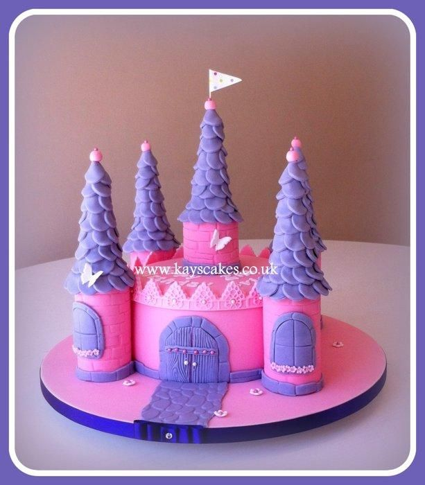 pink & purple single tier castle cake - cakekays cakes