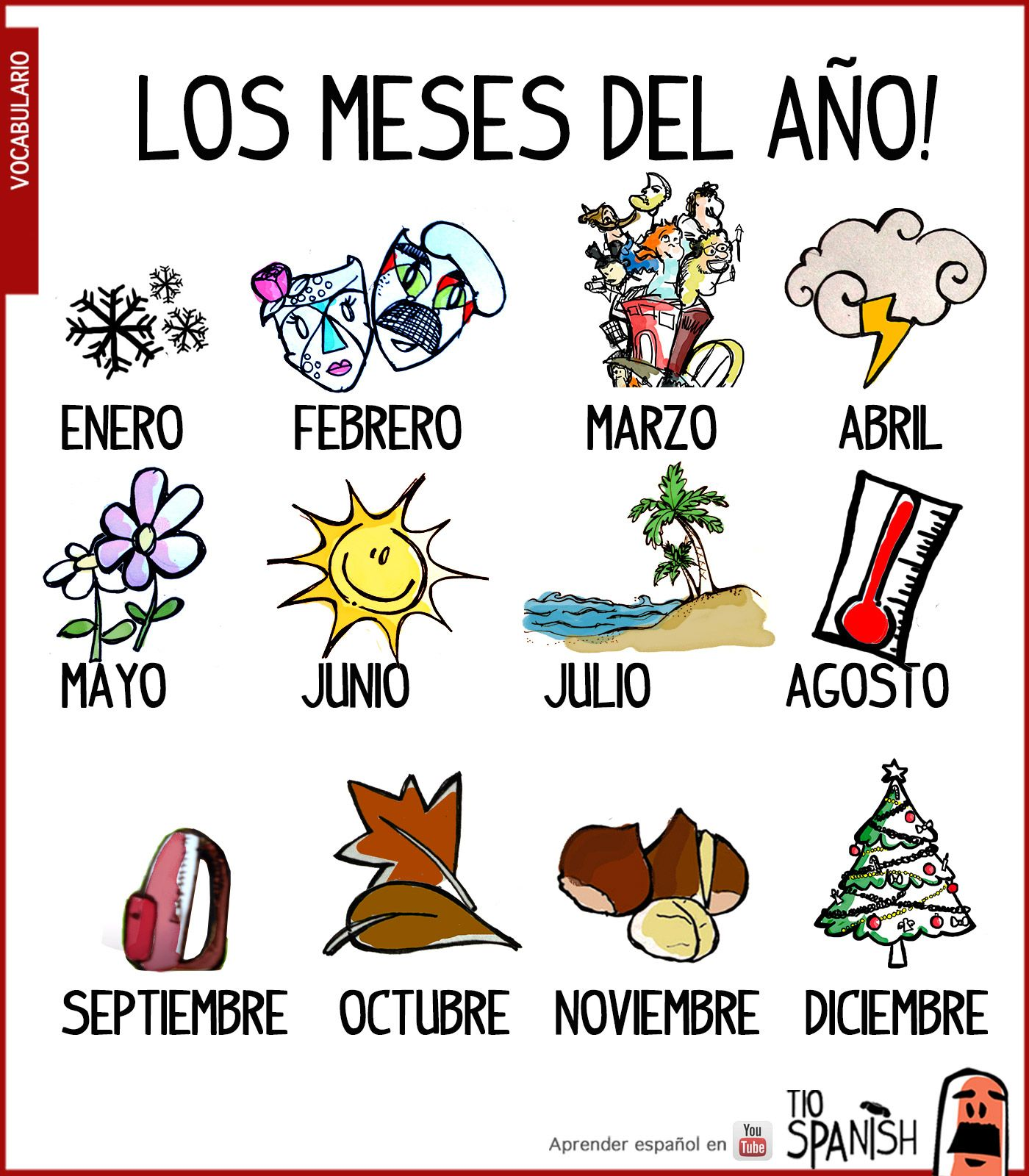 Los Meses Del Ano Vocabulario Inicial Espanol